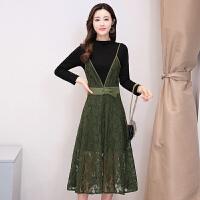 连衣裙女秋装新款韩版圆领长袖修身包臀裙蕾丝纱网两件套装裙