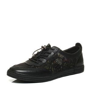 BASTO/百思图2017秋季专柜同款黑色印花布/软面牛皮男休闲鞋AYB46CM7