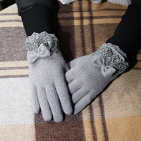 羊毛手套女士秋冬天保暖羊绒薄款开车手套五指分指可触屏