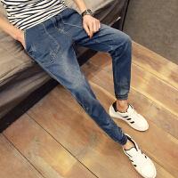 九分牛仔裤男小脚修身修身小脚夏季青少年男裤子日系学生男裤