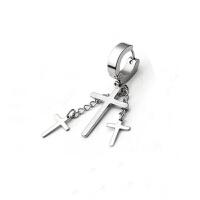 非主流个性时尚韩版钛钢十字架吊坠耳扣耳夹耳环男女耳坠耳钉