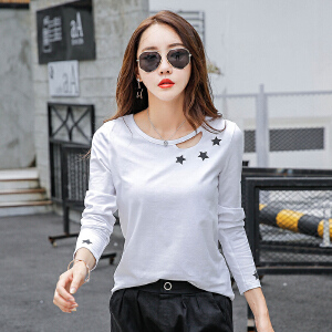 韩版春季新款女装棉质时尚打底小衫外穿秋衣长袖T恤上衣服潮