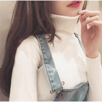 韩版高领毛衣女秋冬原宿风套头针织打底衫潮学生搭配背带裤的上衣
