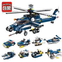 快乐小鲁班拼装积木兼容乐高军事武装直升机战斗机男孩子玩具儿童节礼物