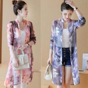 安妮纯夏季防紫外线防晒衣女中长款雪纺衫大码印花长袖开衫披肩薄款外套