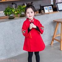 2018冬装新款民族中国风旗袍裙女童夹棉拜年服女孩新年唐装连衣裙 红色