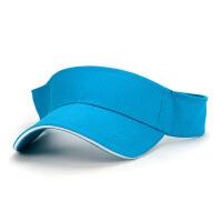 空顶帽纯色男女运动网球帽无顶遮阳帽工作广告帽图案印字 湖蓝(檐长7cm帽围51-60cm) 定制需收费 可调节