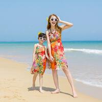 海边度假沙滩裙夏装2018新款韩版子装母女装连衣裙吊带短款雪纺 桔色 花朵链条橘色