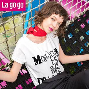 Lagogo2017夏新款字母印花女士短袖圆领T恤女韩版短款百搭体恤衫