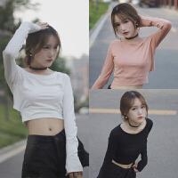 韩版秋季女装学院风软妹子后背性感镂空纯色t恤棉质百搭t恤女