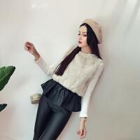 秋季新款韩版PU皮拼接仿兔毛收腰显瘦圆领无袖马夹背心