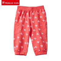 探路者童装小童旅行视野印花针织七分裤TPWK31502
