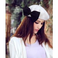 大蝴蝶结韩版女帽画家帽装饰贝雷 羊毛贝蕾帽秋冬款帽子