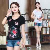 夏季新款 民族风刺绣女装上衣圆领短袖T恤大码中国风纯棉t恤