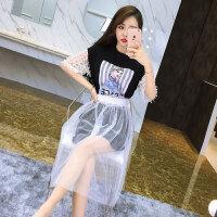 时尚套装潮 夏季新品印花短袖长款T恤裙透视网纱半身裙2件套女