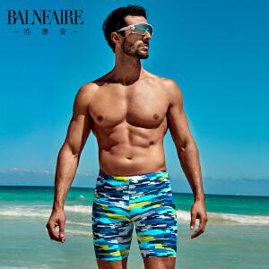 范德安男士五分平角泳裤 速干加大码性感游泳裤 运动竞速防晒泳衣
