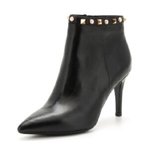 星期六(ST&SAT)冬季专柜同款牛皮革尖头细跟时尚短靴SS74116507 黑色