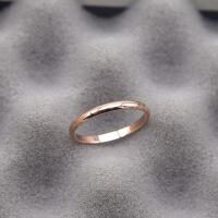 尾戒指女潮人玫瑰金小指不掉色日韩钛钢18k彩金光面简约戒指饰品