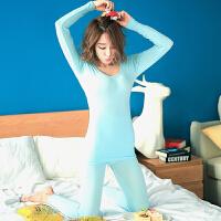 时尚薄款蕾丝秋季保暖内衣套装紧身显瘦圆领打底女士睡衣睡裤 水蓝色 均码