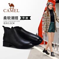 骆驼女鞋2019冬季新款加绒保暖英伦风短靴女中跟单鞋粗跟真皮女靴