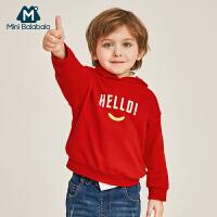 【913超品限时2件3折价:41.7】迷你巴拉巴拉儿童长袖连帽卫衣男2019春季新款中国红男童宽松帽衫