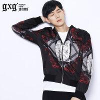 gxg.jeans男装秋季韩版个性潮流青年印花斯文夹克外套#53521255