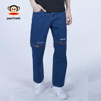 PaulFrank/大嘴猴牛仔裤男宽松直筒韩版潮流休闲长裤春款男裤子