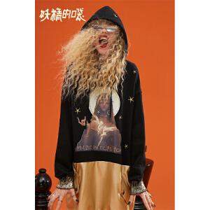 【尾品汇大促】妖精的口袋秋冬2018新款加厚拼接卫衣连衣裙法式复古桔梗裙子女