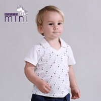 米奇丁当迷你幼童夏季新款可爱男童音乐符翻领上衣T恤