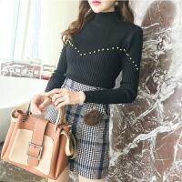 针织衫冬季新款韩版套头半高领修身显瘦打底衫上衣女潮