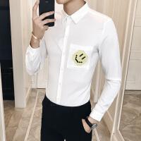 男士长袖衬衫简约潮流发型师工作休闲衬衣