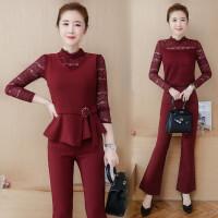 名媛套装女秋装时尚潮新款韩版蕾丝长袖气质女装小香风三件套