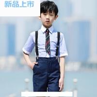 男童礼服夏六一表演演出服装班级大合唱服装短袖背带裤花童礼服男