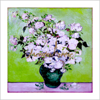 蒙马特大街艺术衍生品定制真丝桑蚕丝小方巾梵高白玫瑰绿花瓶礼盒