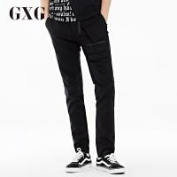 GXG休闲裤男装 秋季男士时尚商务修身青年都市潮流黑色休闲长裤男