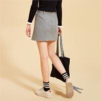 【3折到手价:71】韩版短款半身裙女新款高腰短裙纯色毛呢一步裙黑秋冬包臀裙子