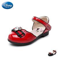 【119元任选2双】迪士尼Disney童鞋18新款儿童闪钻蝴蝶结时装凉鞋女童亮面圆头公主鞋(5-10岁可选) S737
