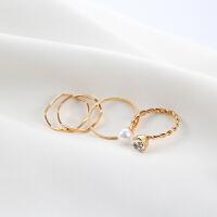 小饰品食指简约珍珠镶钻混搭金属设计戒指女指环4件套装