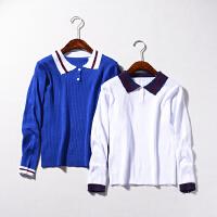 C¥27 秋季新款时尚POLO领长袖针织衫韩版百搭上衣