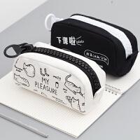 文具盒男女日韩简约中小学生儿童大容量创意PU多功能笔袋女铅笔盒