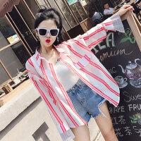2018春季新款韩版时尚气质百搭宽松条纹拼接袖口订钻上衣衬衫A777