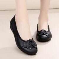 牛皮柔软底防滑女鞋 平跟四季单鞋 浅口舒适妈妈鞋孕妇平底鞋