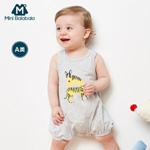 迷你巴拉巴拉童装男婴童宝宝夏季新款无袖卡通连体衣爬服纯棉