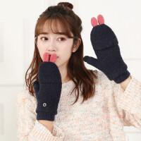 手套女冬季保暖加厚触屏毛线针织五指可爱韩版学生露指骑车春秋