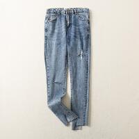 2018春装新款高腰修身显瘦不规则剪边牛仔铅笔裤
