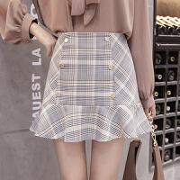 格子裙半身裙a型2018新款排扣修身一步裙包臀短裙鱼尾裙半身裙