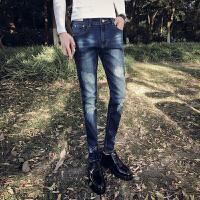 新款牛仔裤男秋款弹性紧身青年休闲裤修身款蓝色小脚裤长裤子男装
