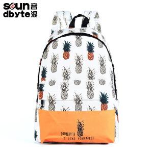 【支持礼品卡支付】soundbyte白色菠萝双肩包韩版学院风学生书包帆布电脑背包女