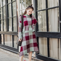 慵懒风毛衣套装裙女2018春季季新款韩版时尚学生格子中长款两件套