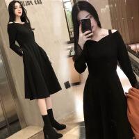 胖mm秋冬2018新款大码女装胖仙女冬装打底裙减龄显瘦200斤连衣裙 黑色